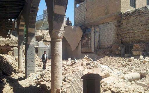 أضرار كنيس النبي إلياهو الواقع في حي جوبر في ريف دمشق